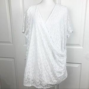 NWT Lane Bryant White Lace Top Wrap Blouse
